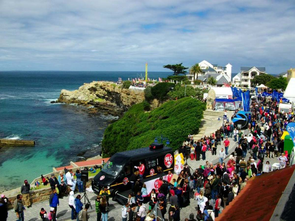 A lively crowd gathers for the Hermanus Whale Festival